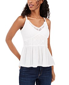 Juniors' Lace-Trimmed Smocked Camisole Top, Created For Macy's