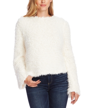 Vince Camuto Sweaters TEXTURED FAUX-FUR SWEATER
