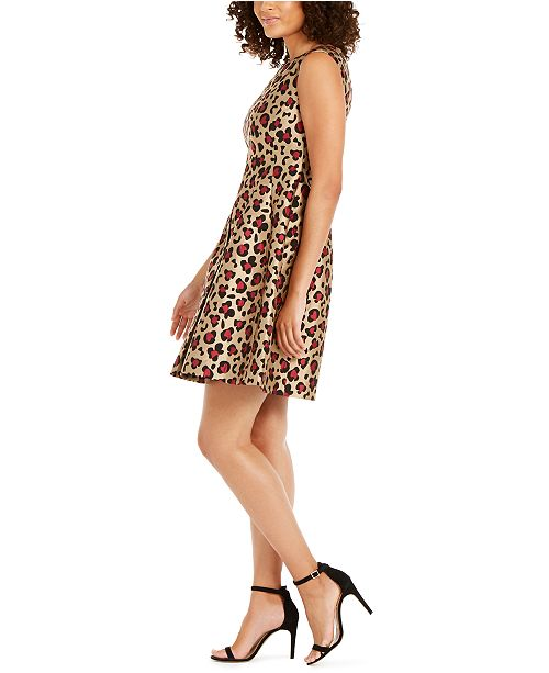 Anne Klein Pleated Leopard Print Jacquard Dress Amp Reviews