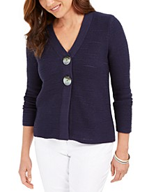 Petite Statement-Button Cardigan, Created for Macy's