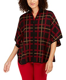 Plaid Zip-Front Poncho Cardigan