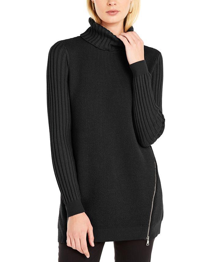 INC International Concepts - Zipper-Trim Tunic Sweater