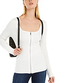 INC Square Neck Zip-Front Sweater, Created For Macy's