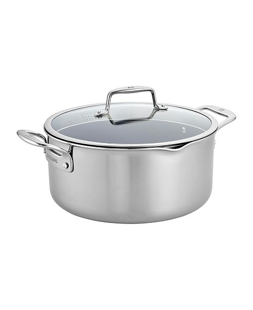 J.A. Henckels Zwilling Clad CFX 8-Qt. Dutch Oven with Strainer Lid and Pouring Spouts