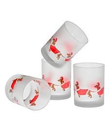 Santa Dachshunds DOF Glass 14-Ounce Set of 4