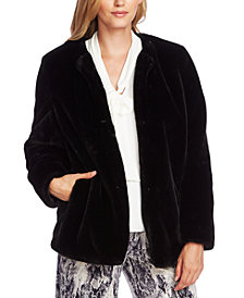 Vince Camuto Collarless Faux-Fur Jacket
