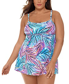 Plus Size Palmalicious Printed Empire Tummy Control Swimdress, Created for Macy's