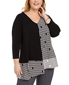 Plus Size Block-Print Stretch Top, Created For Macy's