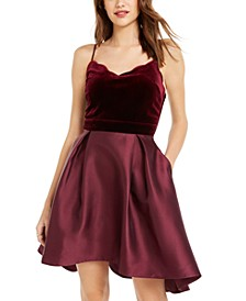 Juniors' High-Low Velvet-Top Dress