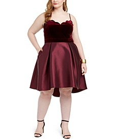 Trendy Plus Size Velvet-Top Dress