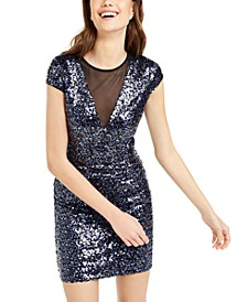 Juniors' Mesh-Inset Sequined Bodycon Dress