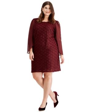 Plus Size Jacquard Tulip-Sleeve Dress