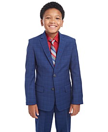 Big Boys Stretch Plaid Suit Jacket