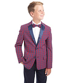Big Boys Tailored Stretch Holiday Tartan Blazer