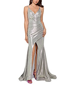 Slinky Metallic Slit Gown