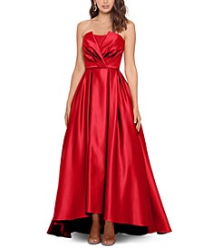Strapless Satin Wrap Gown
