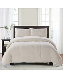 Crease 3 Piece Comforter Set, King/California King