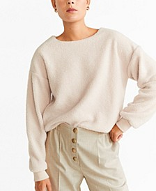 Contrasting Faux Sheepskin Sweatshirt