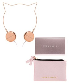 Laura Ashley Tech Accessory Set- Headphones, Powerbank, Carrying Case