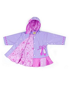 Little and Big Girl with Comfy Polyester Lining Ballet Raincoat