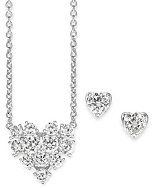 "Crystal Heart Pendant Necklace & Stud Earrings Set, 16"" + 1"" extender, Created For Macy's"