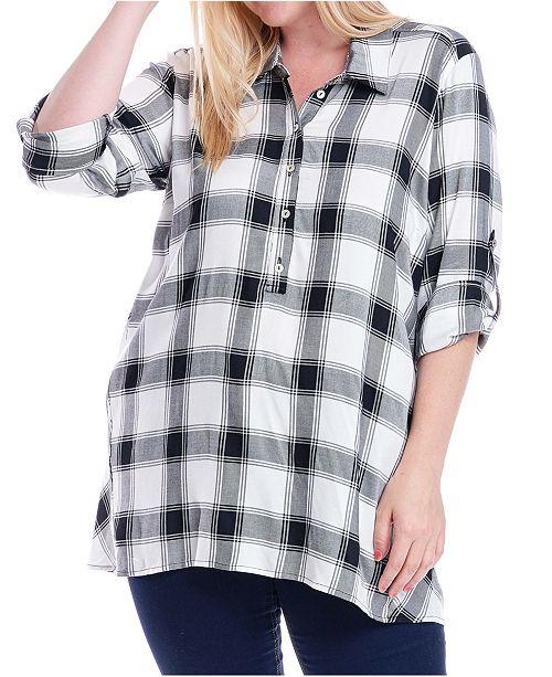 Fever Plus Size Plaid Button-Up Shirt