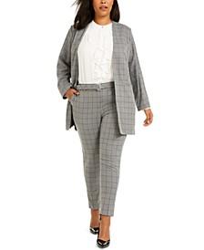 Plus Size Printed Longline Blazer, Ruffled Button-Front Top & Printed Slim-Leg Pants