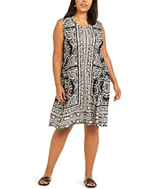 Plus Size Printed A-Line Dress, Created For Macy's