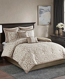 Odette Queen 8 Piece Jacquard Comforter Set