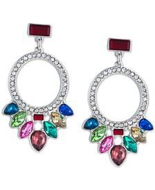 Silver-Tone Multicolor Crystal Front-Facing Drop Hoop Earrings