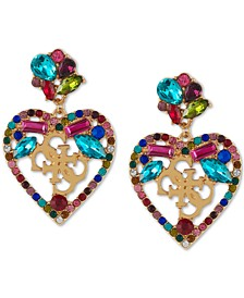 Gold-Tone Crystal Heart Logo Drop Earrings