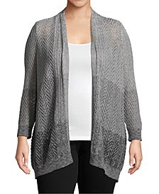 Plus Size Ombré Open-Front Cardigan
