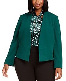 Plus Size Open-Front Crepe Jacket