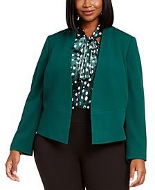 Plus Size Open-Front Crepe Jacket