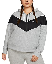 Plus Size Sportswear Heritage 1/2-Zip Hooded Top