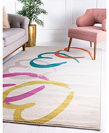 Chain Of Hearts Jso002 White 5' x 8' Area Rug