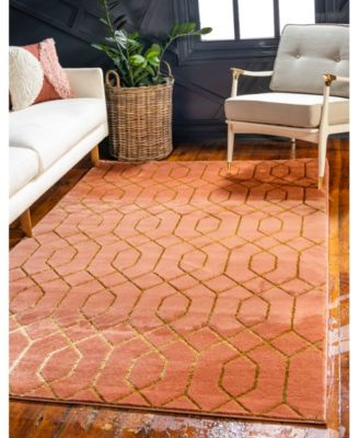 Glam Mmg001 Coral/Gold 2' x 3' Area Rug