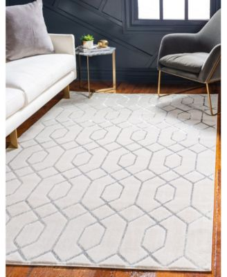 Glam Mmg001 White/Silver 4' x 6' Area Rug