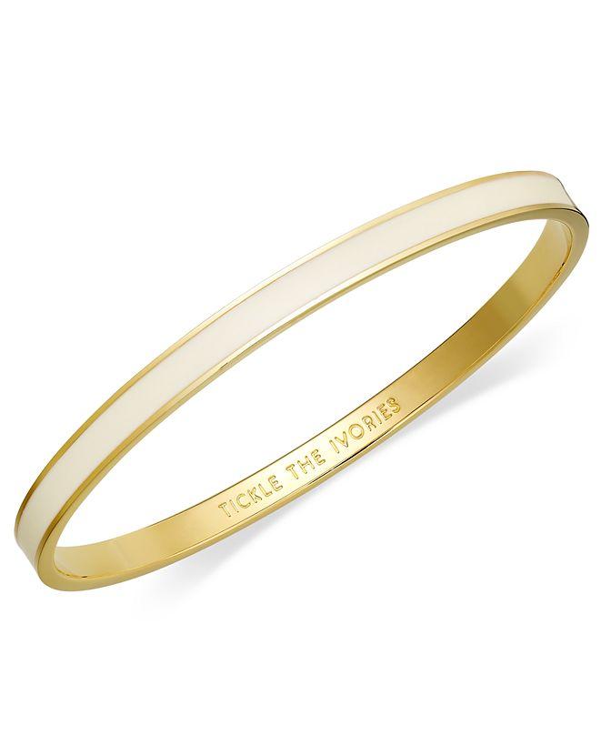 kate spade new york Bracelet, 12k Gold-Plated Cream Enamel Tickle the Ivories Idiom Bangle Bracelet