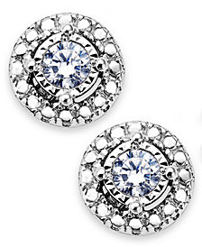 TruMiracle® Diamond Halo Stud Earrings in Sterling Silver (1/10 ct. t.w.)