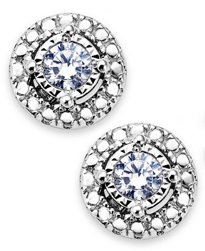 Trumiracle Diamond Halo Stud Earrings In Sterling Silver 1 10 Ct T W