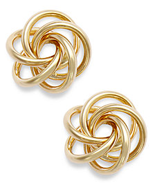 10k Gold Earrings, Open Love Knot Earrings