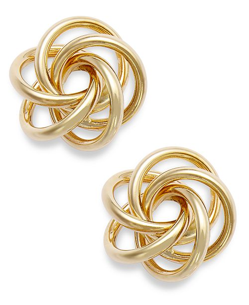 tri jtv com love product knot medium color gold textured earrings