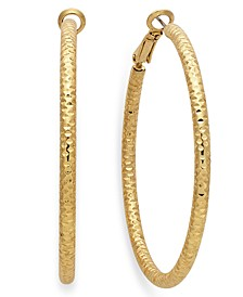 "Large 2"" Textured Hoop Earrings"
