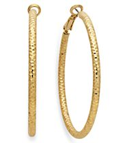I.N.C. Silver-Tone Small Textured Hoop Earrings