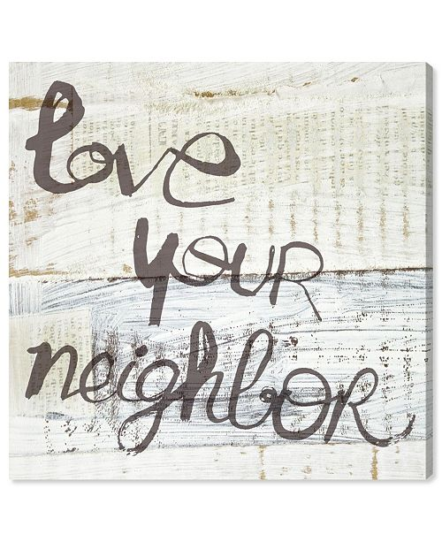 """Oliver Gal Love Your Neighbor Canvas Art, 12"""" x 12"""""""