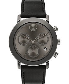 Men's Swiss Chronograph Bold Evolution Black Leather Strap Watch 42mm, First at Macy's