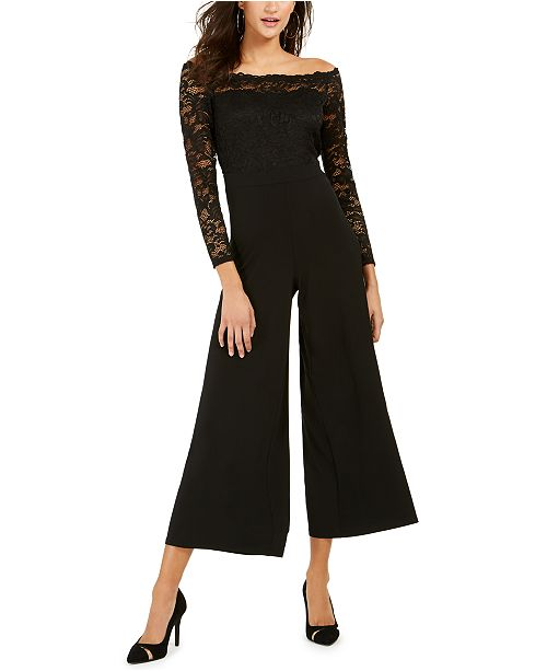 Thalia Sodi Off-The-Shoulder Lace Jumpsuit, Created For Macy's