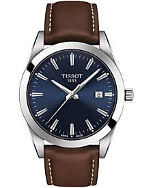 Men's Swiss T-Classic Gentleman Brown Leather Strap Watch Watch 40mm