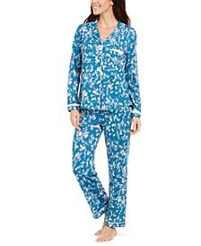 Floral-Print Shirt & Pants Pajamas Set